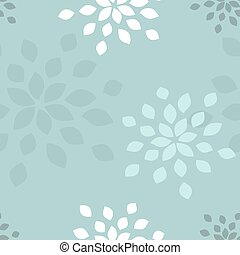Stylized flower seamless pattern Petals blue textile fabric...