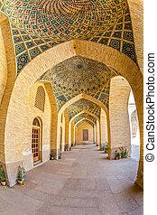 Nasir al-Mulk Mosque arcade hall fisheye - Fisheye view of...