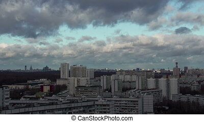 Time lapse of city and stormy clouds Moscow