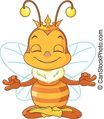 Meditating Queen Bee - Cute Queen Bee sitting in the lotus...