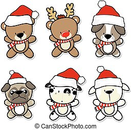 baby animals with christmas hat isolated on white background