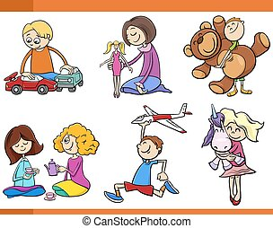kids with toys cartoon set