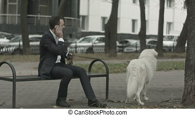 Business man with his white dog talking by phone another...
