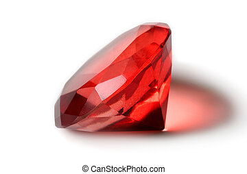 Beautiful red gem - Big red diamond isolated on white
