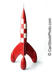 Retro style toy rocket isolated - Retro moon rocket isolated...