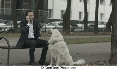Business man talking by phone, big white dog siting near him...