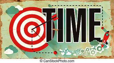 Time on Grunge Poster in Flat Design - Time - Old Grunge...