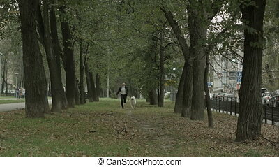 Business man running with playful big white dog in the green city park