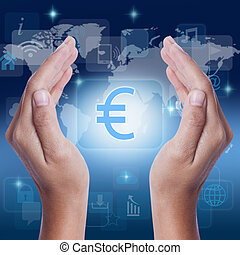 Hand showing Euro symbol on screen business concept