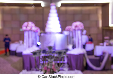 blur of catering setup, at wedding reception