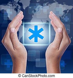 Hand showing medical symbol. medical concept