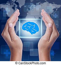 cérebro, mostrando, Símbolo, mão