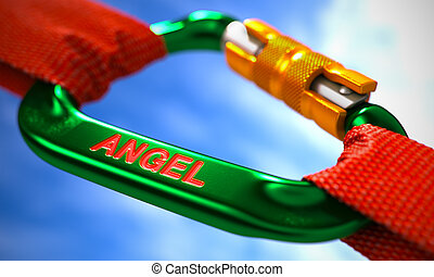Angel on Green Carabine with Red Ropes - Green Carabine with...