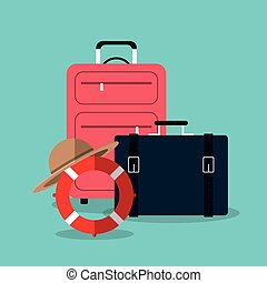 Summer, vacations and travel graphic design with icons,...