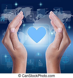 Hand showing blue heart icon symbol on screen business...