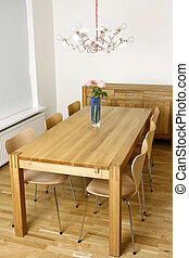 Trendy interior - New and trendy dining room with modern...
