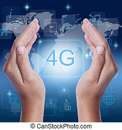 Hand showing 4g icon symbol on screen business concept