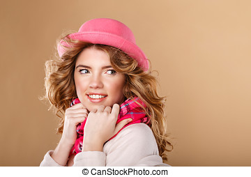 Girl with curly hair in pink hat and scarf. - Beautiful...