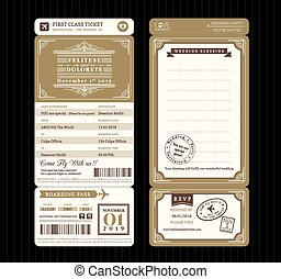 Vintage style Boarding Pass Ticket Wedding Invitation...
