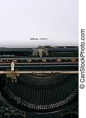 Annual report - Close up of an antique typewriter with the...