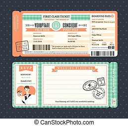 Pastel Retro Boarding Pass Wedding Invitation Template -...