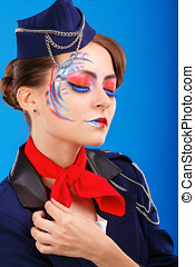 Stewardess with face art. Portrait. - Stewardess with face...
