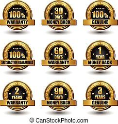 Vector set of 100 percent satisfaction guaranteed golden labels