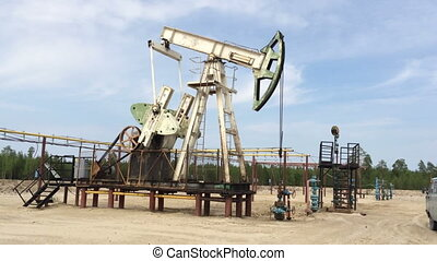 Fossil Fuel Energy, Oil Pump, Pumpjack, Old Pumping Unit,...