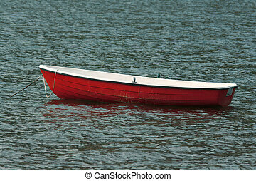 Rowing boat - Empty red rowing boat on a fishing lake