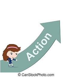 Happy business woman running on green arrow with word Action
