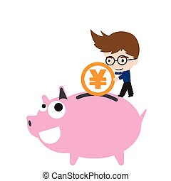 Print - Piggy bank smile and happy, businessman putting...