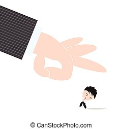 Print - Businessman, worry and fear hand of boss kicked or...