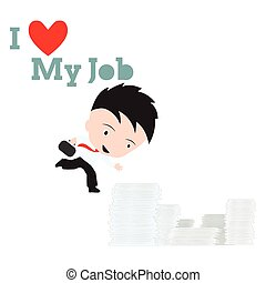 Print - Business man working and going to all document and...
