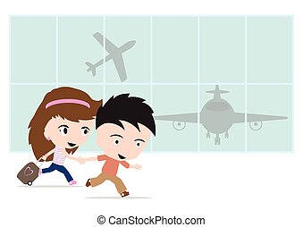 Happy traveler man and woman with luggage, going to airport and airplane for travel summer concept on white background