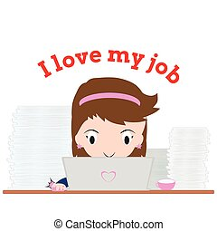 Business woman working with notebook and word quot;I love my...