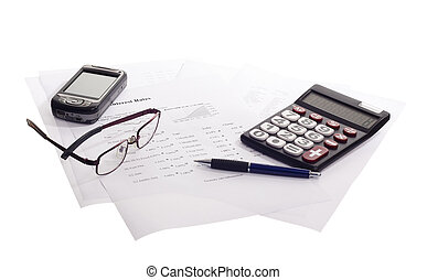 accounting business - business papers and tools tipical...