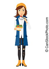 Woman eating salad. - A smiling woman eating salad vector...