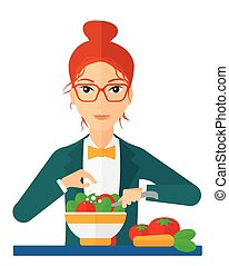 Woman cooking meal. - A woman cooking vegetable salad vector...