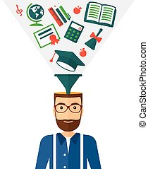 Smart cheerful man - A hipster man with multiple icons above...