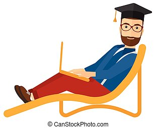Graduate lying on chaise lounge with laptop - A hipster man...