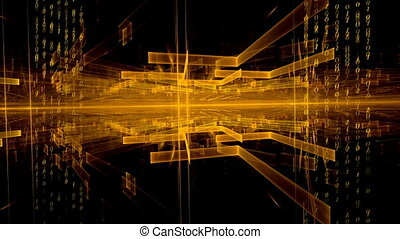 Data Flow, Geometrical Horizon - Matrix, orange translucent...