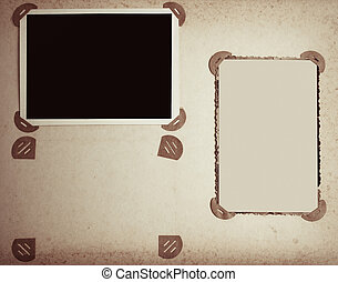 old-fashioned photo frames in vintage album toned photo -...