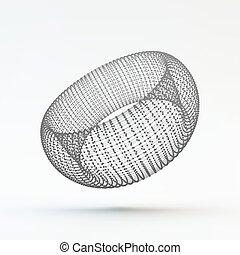 Torus Molecular lattice Connection structure 3d Vector...