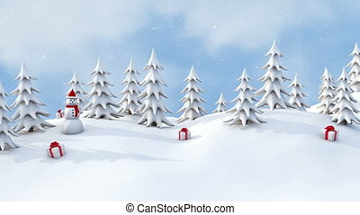 Winter pine forest with Christmas gifts and snowmen