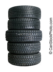 Stack of new tires - Brand new tires stacked up and isolated...