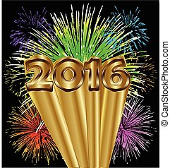 2016 new year with fireworks
