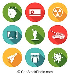 North Korea Icons Set Vector Illustration - Isolated Flat...