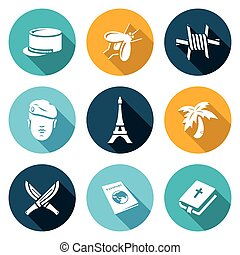 French Foreign Legion Icons Set. Vector Illustration. -...