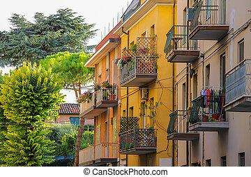 建物, イタリア, 中心, アパート, 歴史的,  rimini