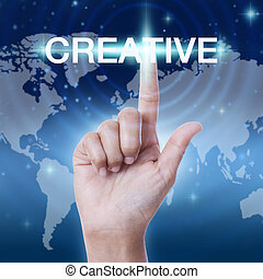 hand pressing creative word button. business concept